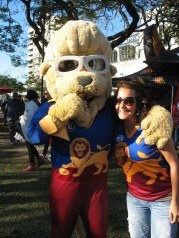 Leo the Lion of the Brisbane Lions eating MONTY!