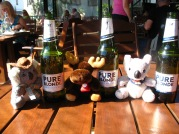 Monty having a beer with his new mates Kev & Skitz