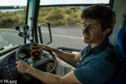 Monty trying to drive the bus on our Go WEST Tour of Great Ocean Road