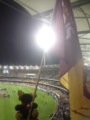 Monty waving the Brisbane Lions flag with pride at the footy!