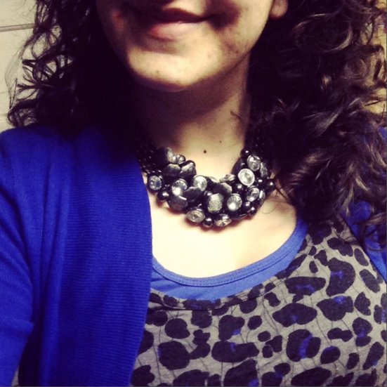 This is my FAVE Statement Necklace! Metallic with a lot of sparkle!