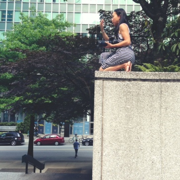 The incredibly talented Sandra Leung shooting from a very high ledge - oh what we photographers will do in the name of the perfect photograph!